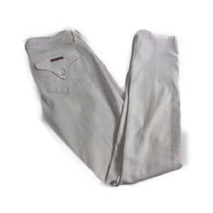 Hudson Collin Flap Skinny Stretch Jean in White 27